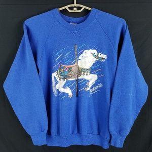 Vintage Unicorn Carousel Horse Raglan Sweatshirt